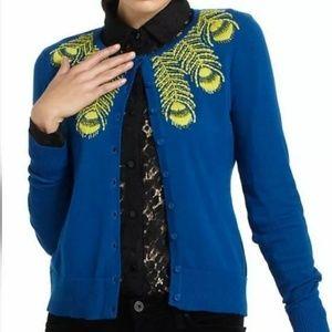 TABITHA Cardigan Sweater Blue Yellow Small long